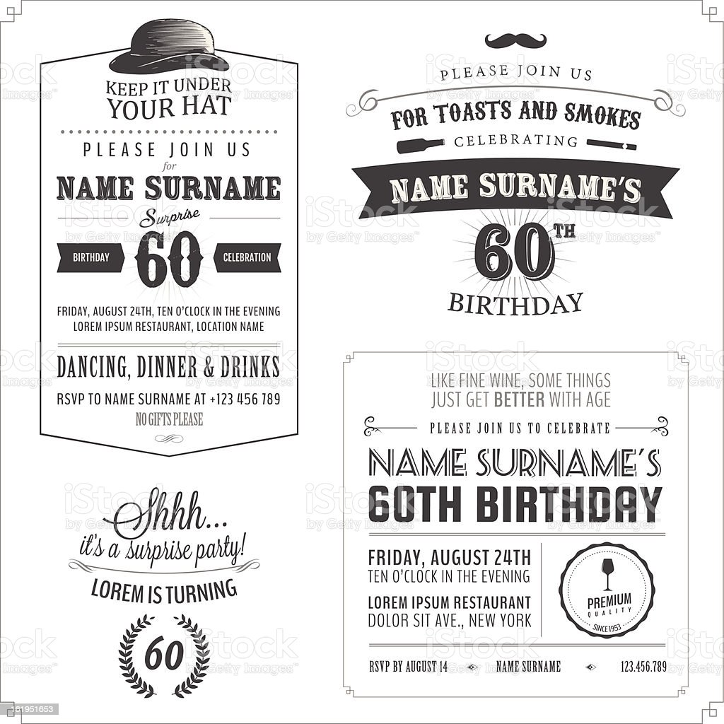 Set of adult birthday invitation vintage typographic design elements vector art illustration