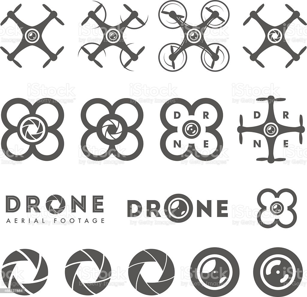 Set of aerial drone footage emblems and icons vector art illustration