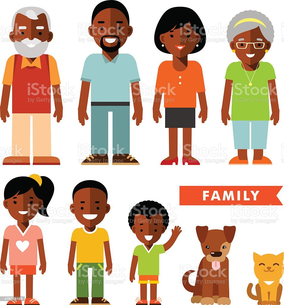 Set of african american ethnic family members in flat style vector art illustration