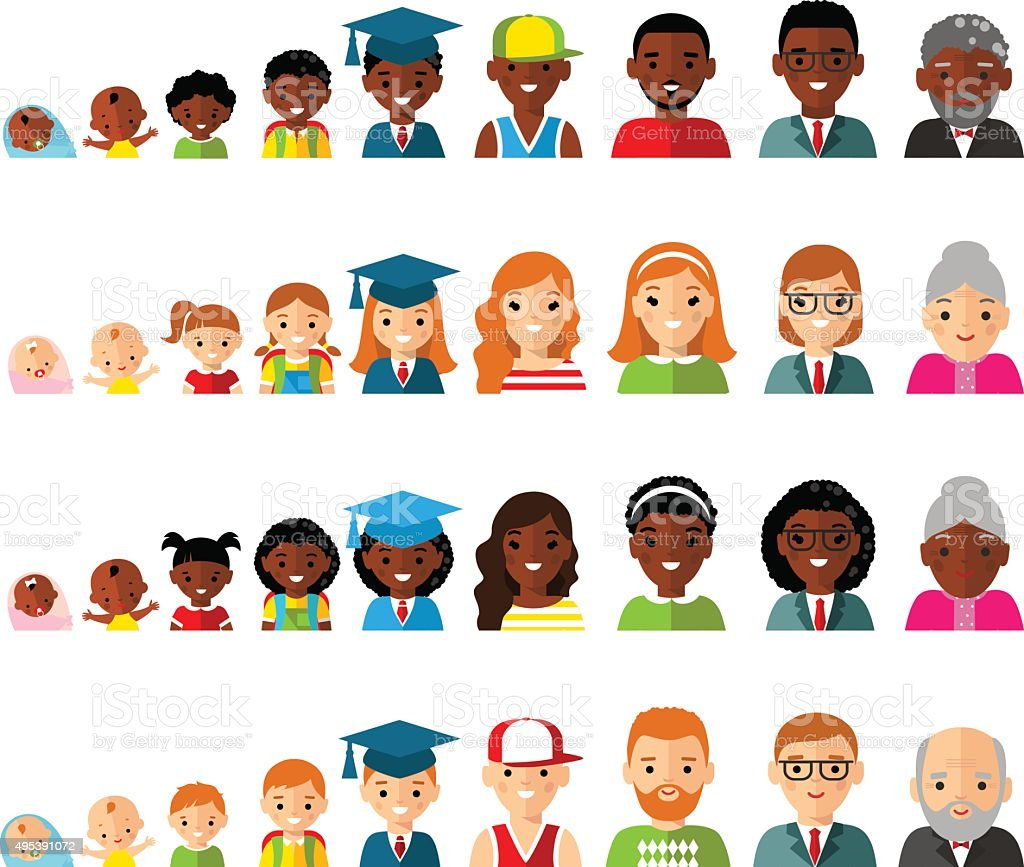 Set of age group avatars in colorful style. vector art illustration