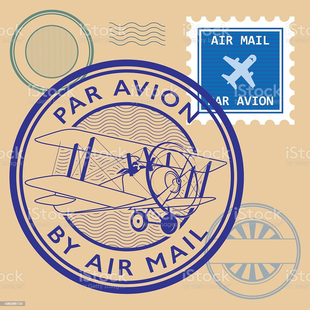 Set of air mail symbols vector art illustration