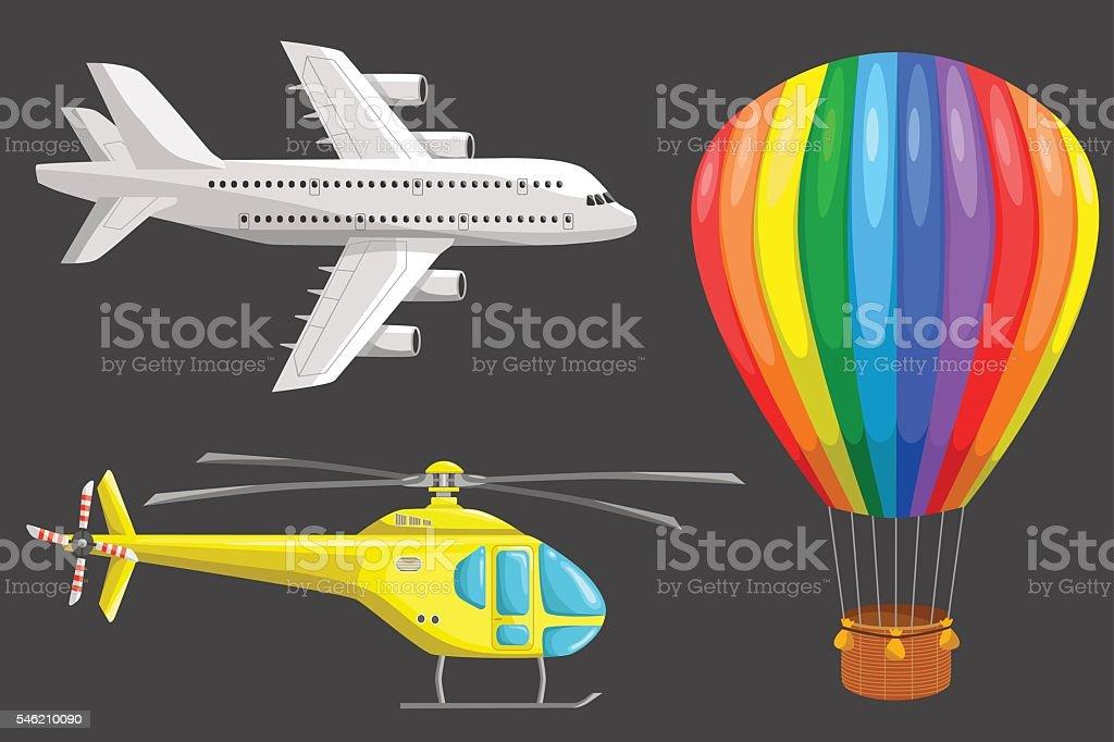 Set of air transport vector art illustration