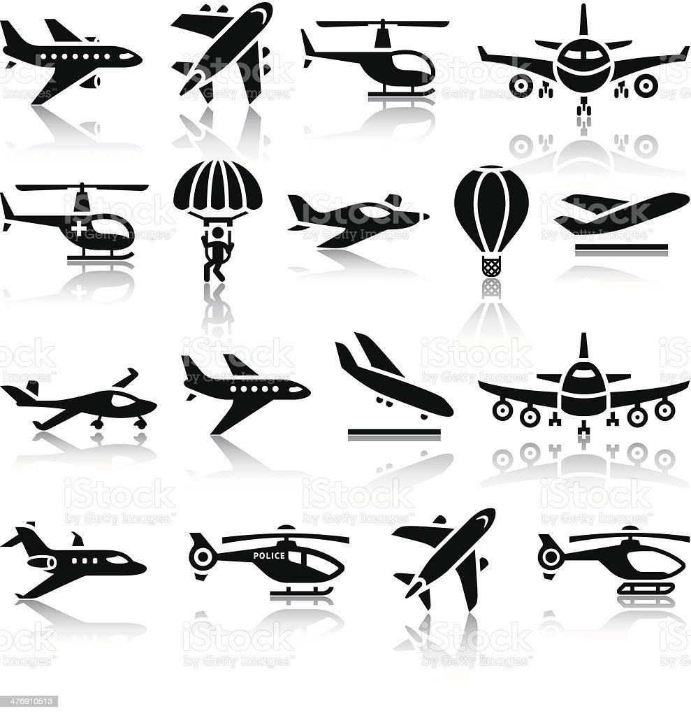Set of aircrafts black icons vector art illustration