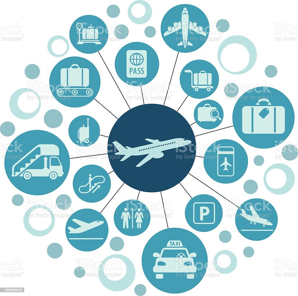 Set of airplane and travel icons vector art illustration