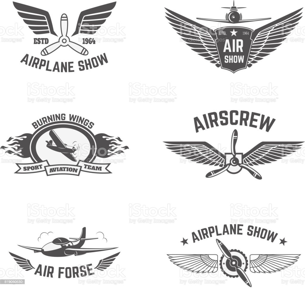 Set of airplane show labels isolated on white background. vector art illustration