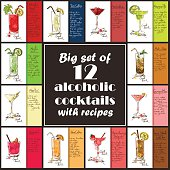 Set Of Alcoholic Cocktails With Recipes.