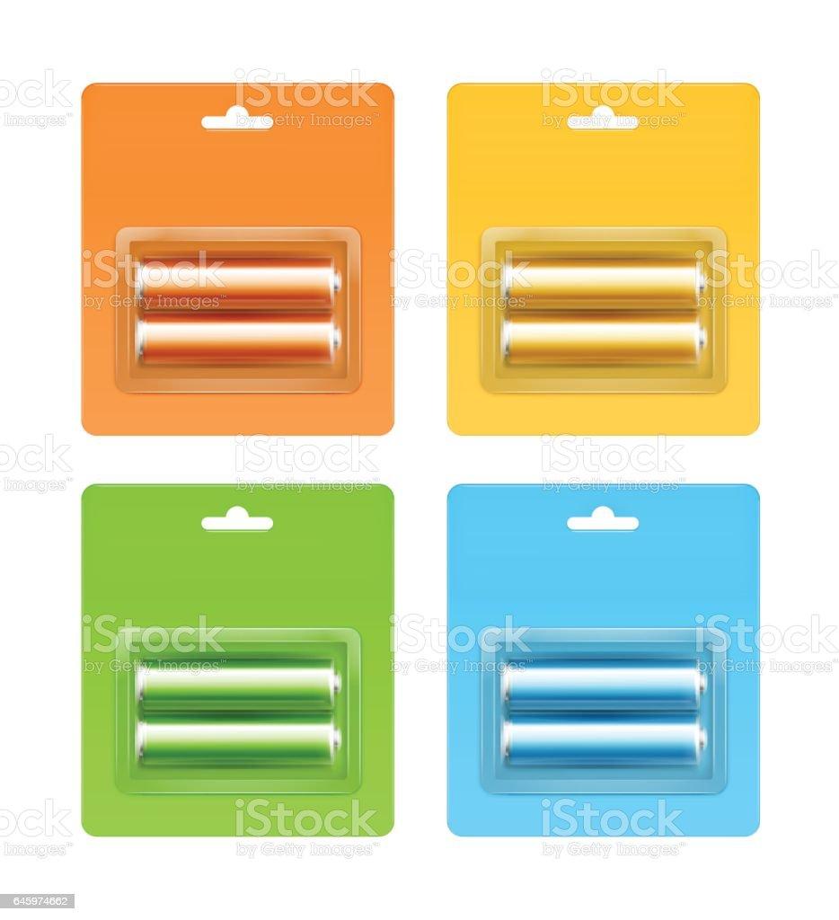 Set of Alkaline AA Batteries in Blister Packed vector art illustration