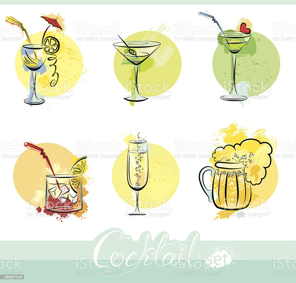 Set of alkohol drinks images in grunge style. vector art illustration