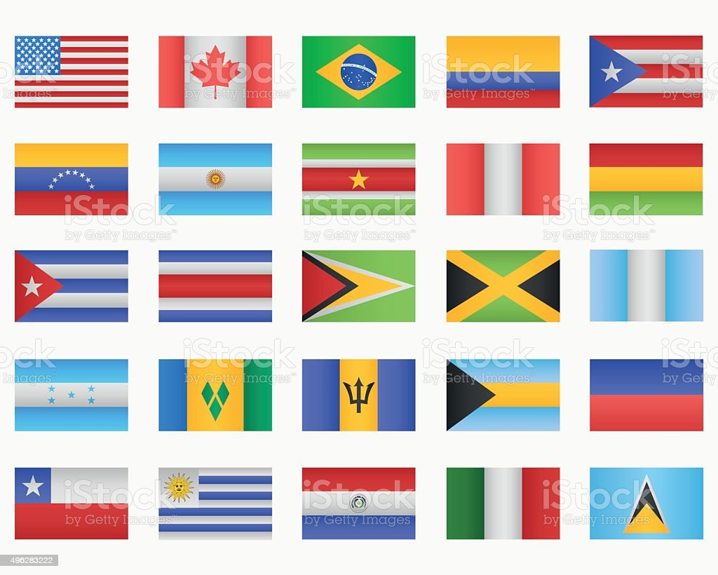 Set of American countries Flags vector art illustration