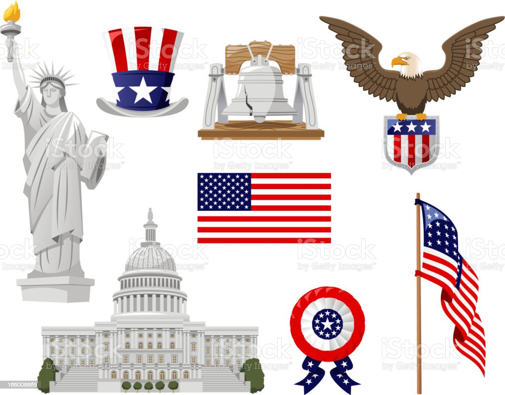 Set of American culture pictures on a white background royalty-free stock vector art