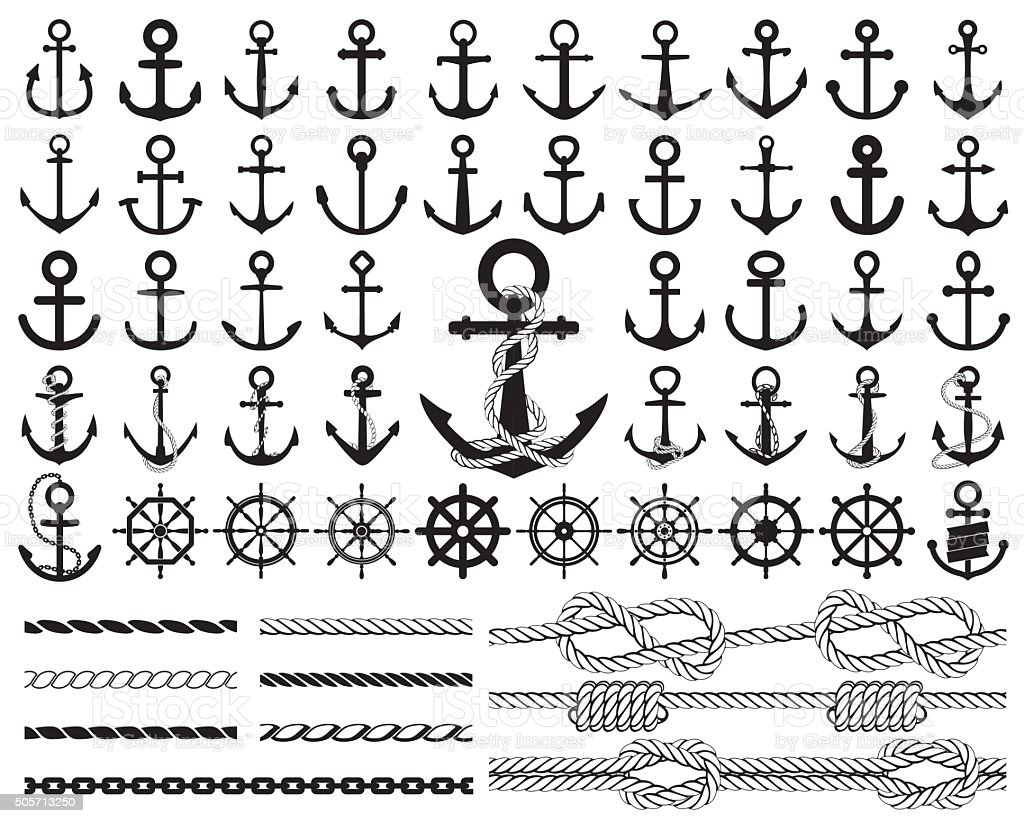 Set of anchors, rudders icons, and ropes. Vector illustration. vector art illustration