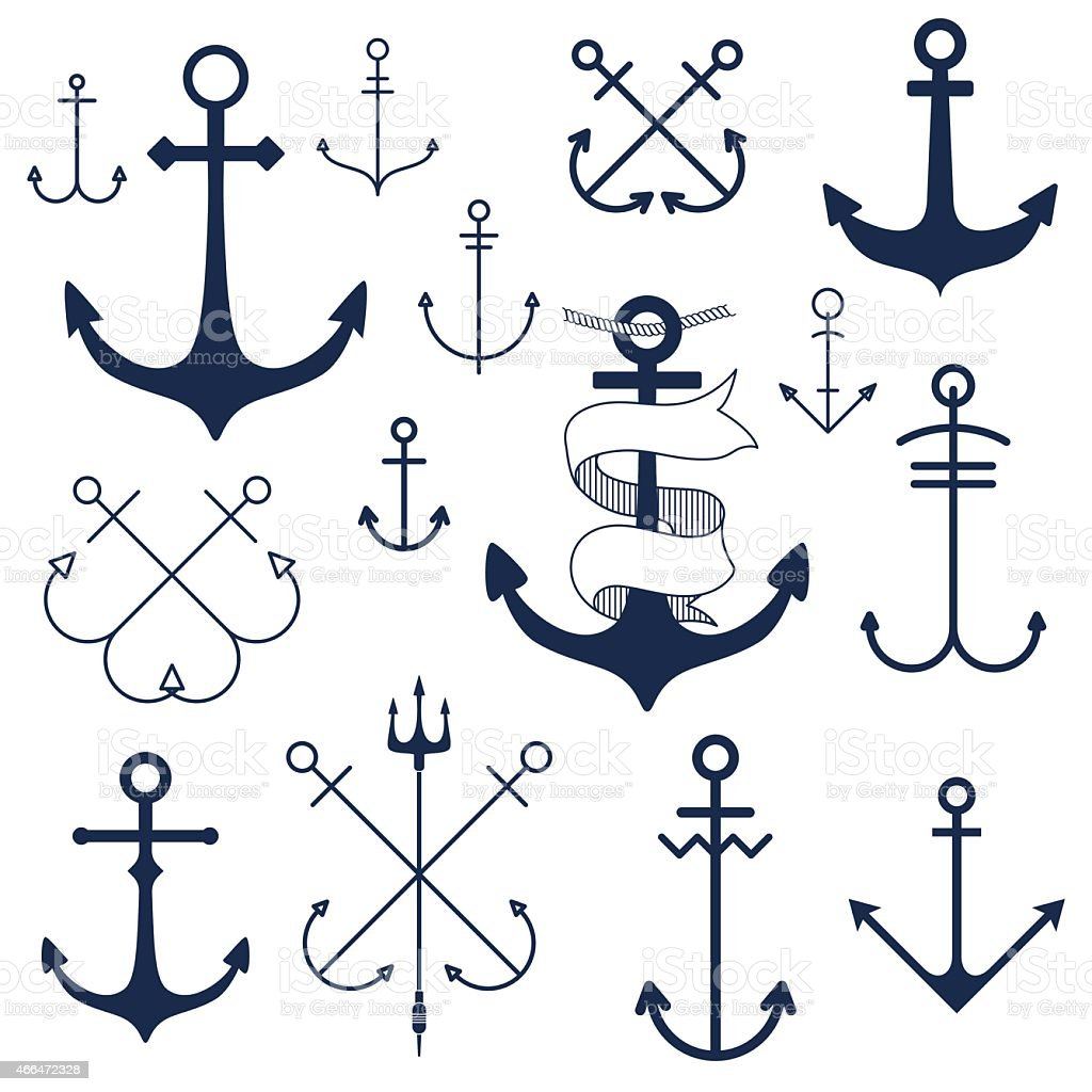 Set of anchors vector art illustration