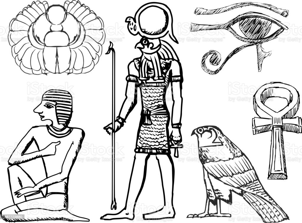 set of ancient Egyptian symbols vector art illustration