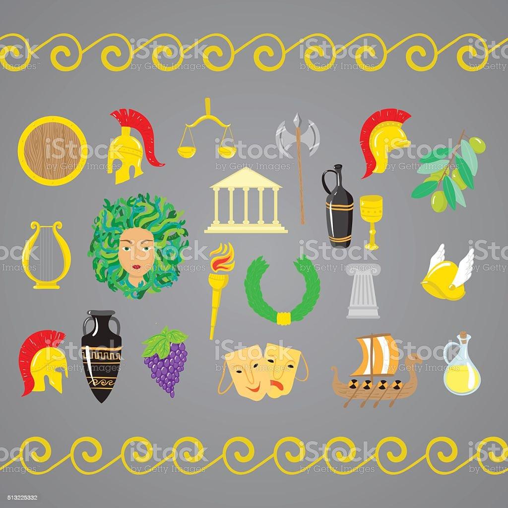 Set of ancient Greece elements vector art illustration