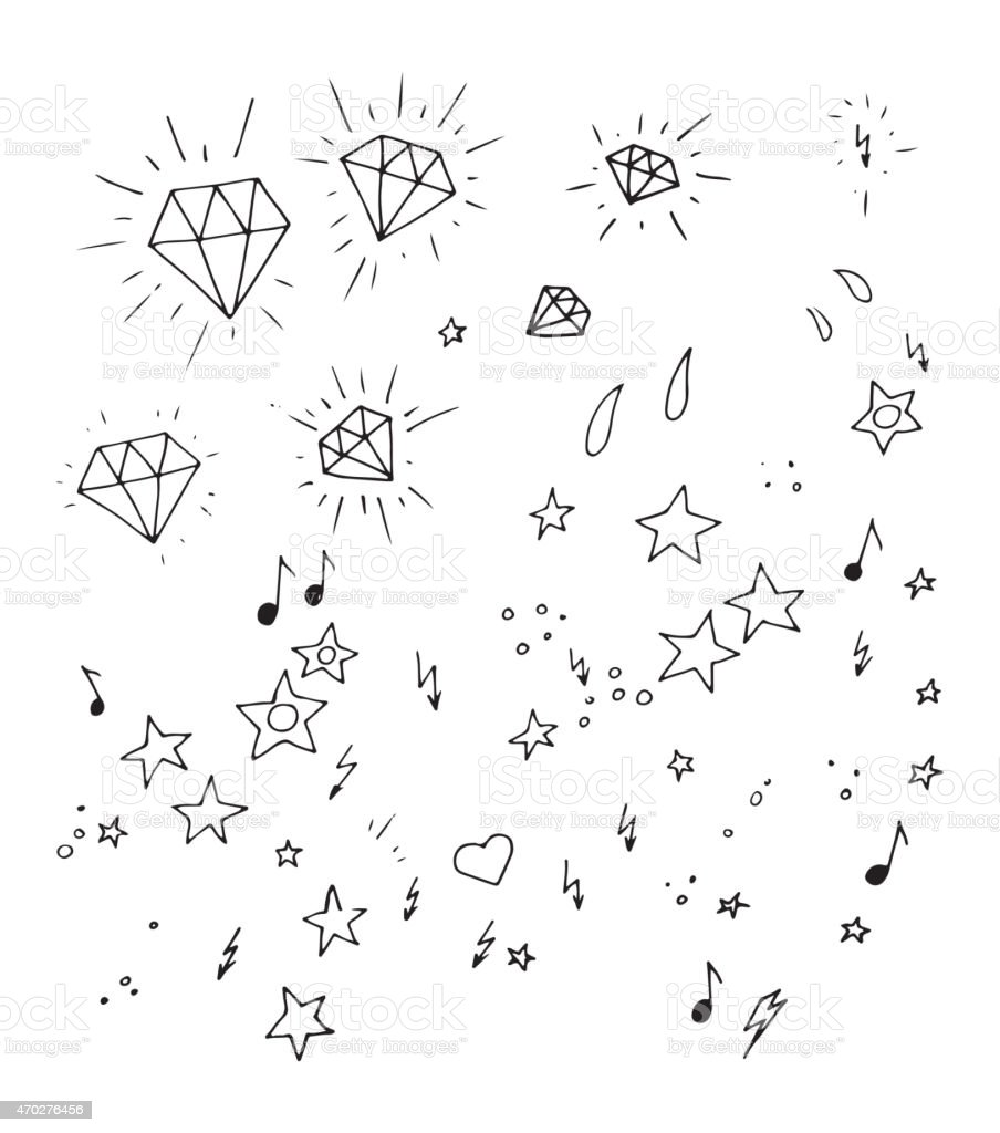 Set of and drawn tattoo design elements vector art illustration