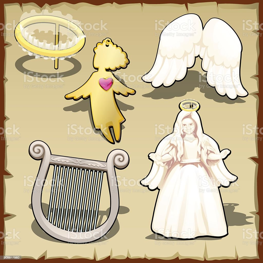 Set of angelic, halo, harp, wings and other vector art illustration