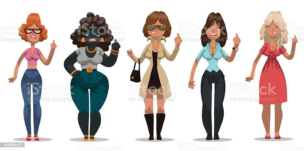 Set of angry women vector art illustration