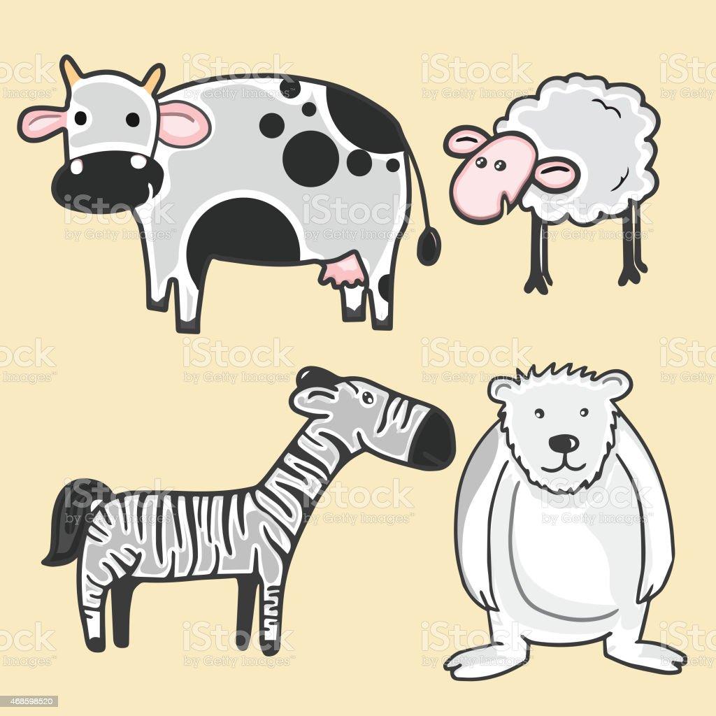 Set of animal characters. vector art illustration