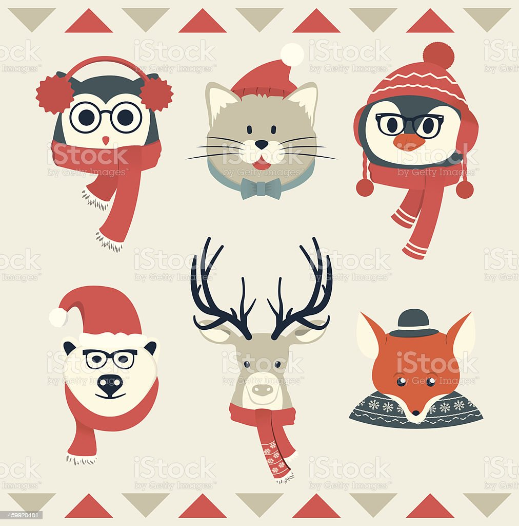 Set of Animal Heads | Winter Collection vector art illustration