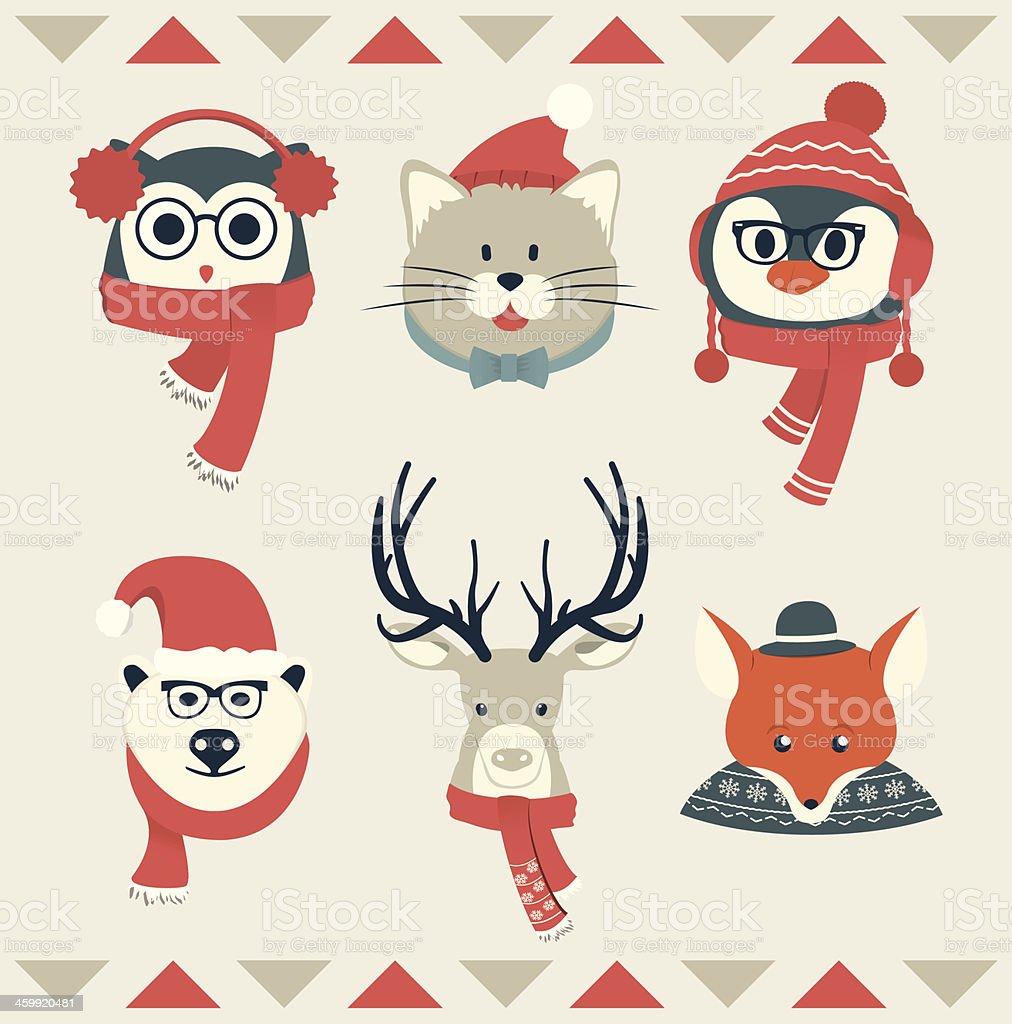 Set of Animal Heads   Winter Collection vector art illustration