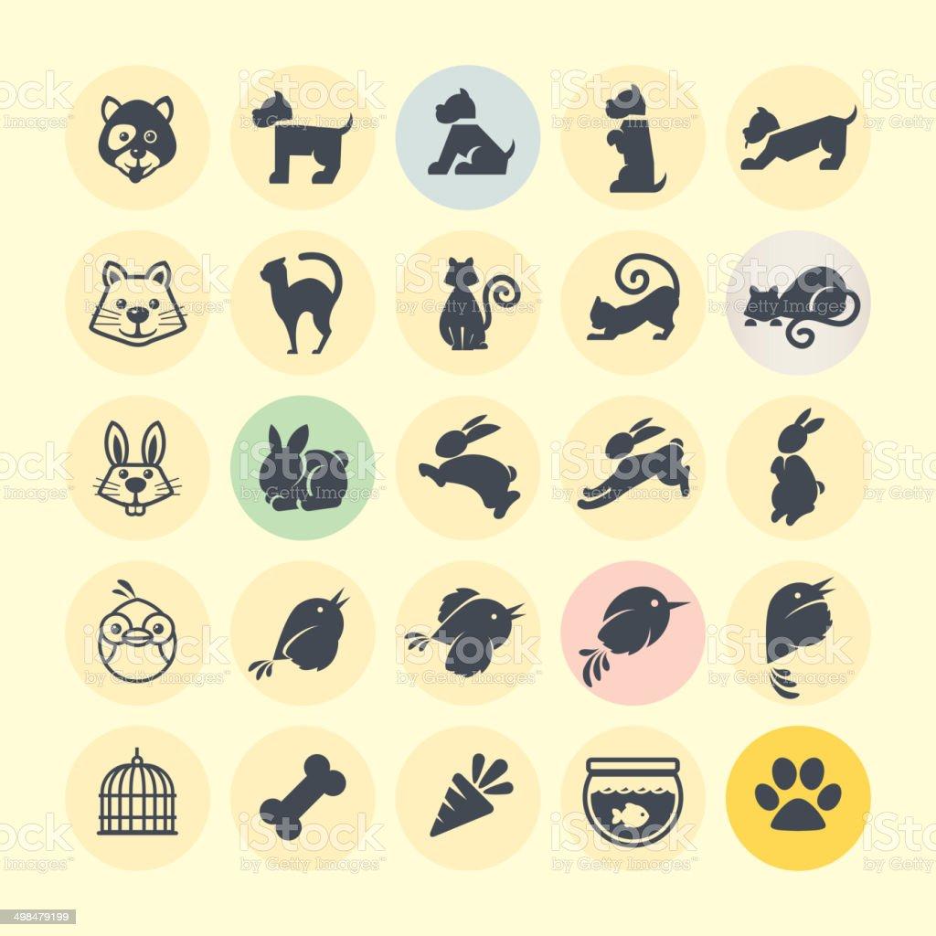 Conjunto de iconos de animales illustracion libre de derechos libre de derechos