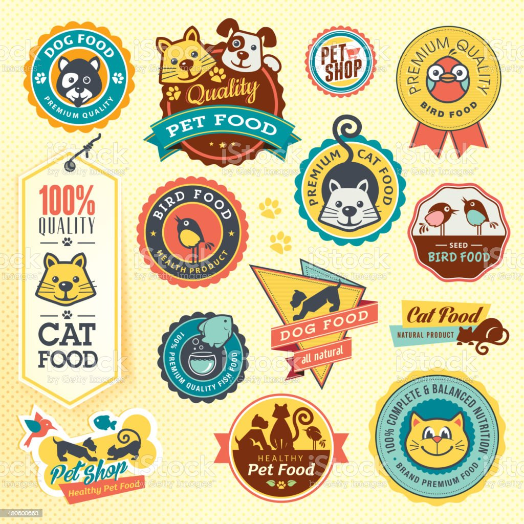 Set of animal labels and stickers vector art illustration