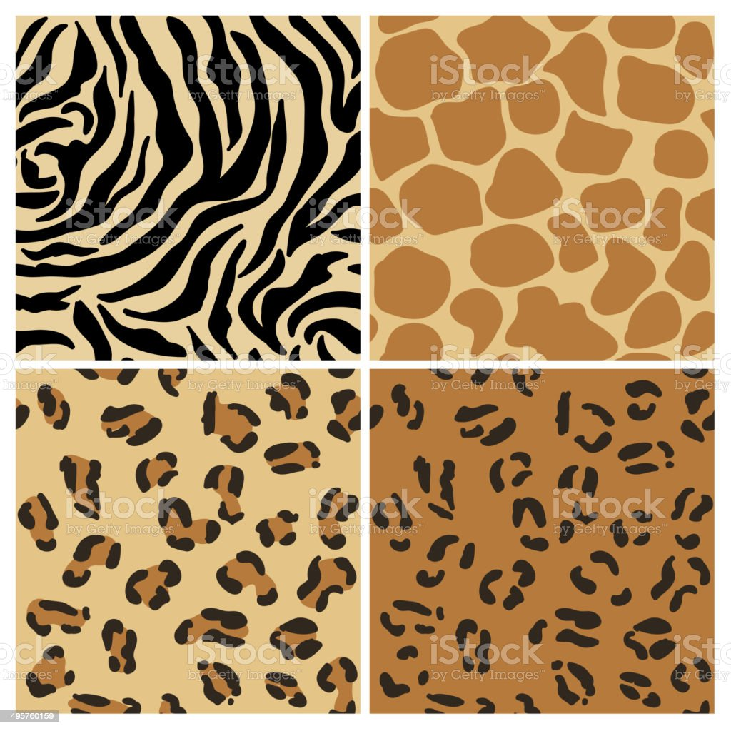 Set of Animal Patterns - for design and scrapbook vector art illustration