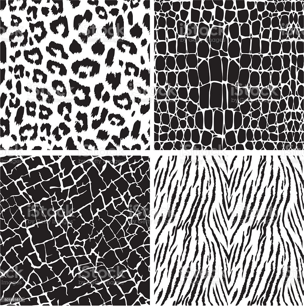 Set of animal skin seamless patterns vector art illustration