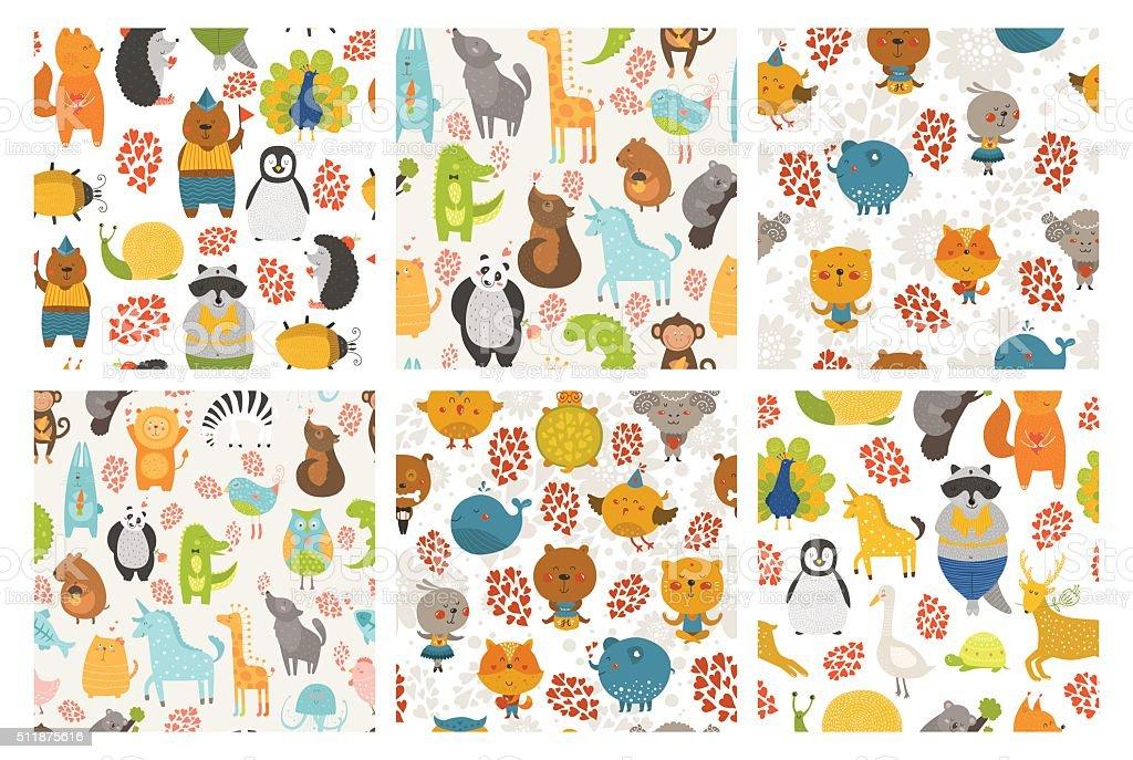 Set of animals backgrounds vector art illustration