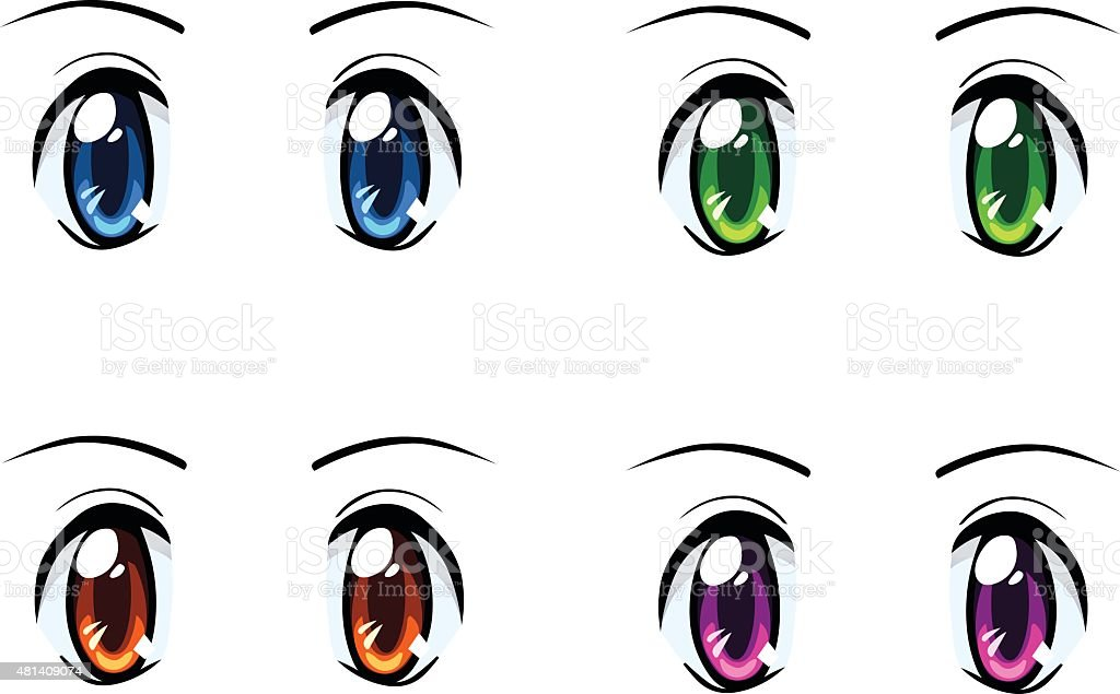 Set of anime eyes of different colors vector art illustration