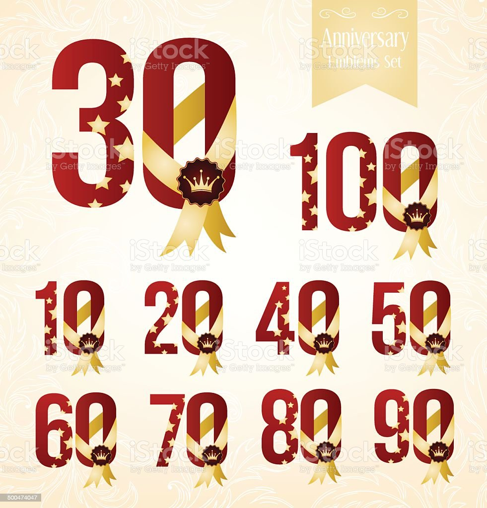 Set of anniversary emblems. vector art illustration