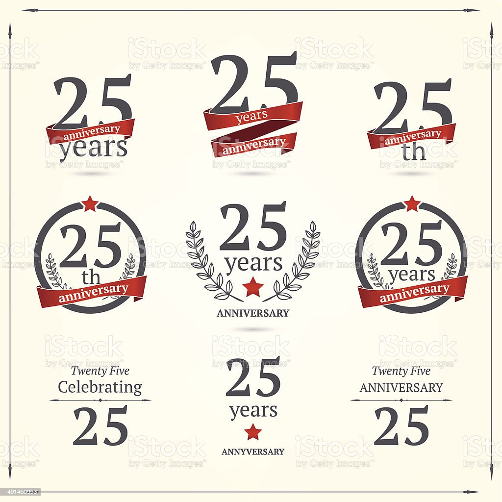Set of anniversary twenty five signs vector art illustration