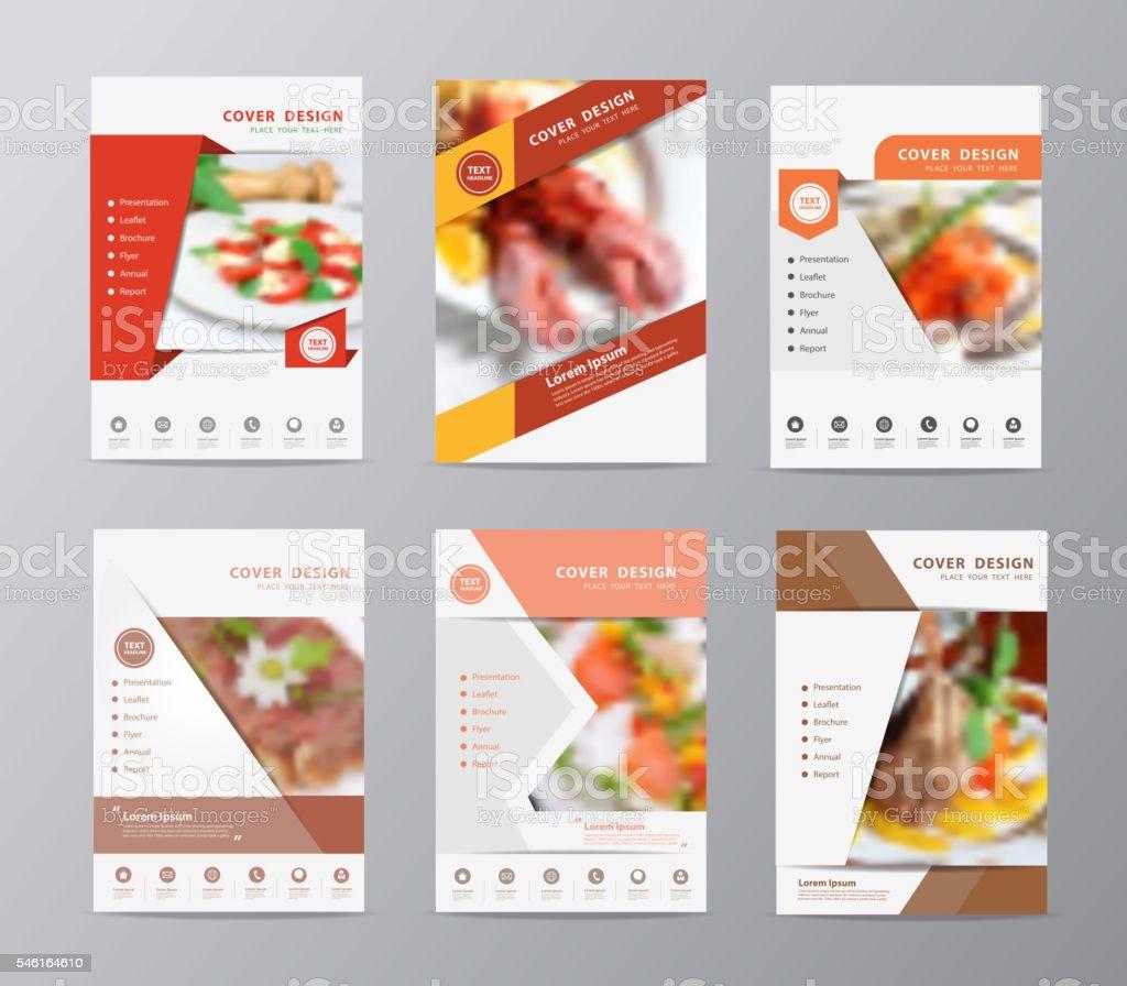 Set of annual report brochure flyer design template food background vector art illustration