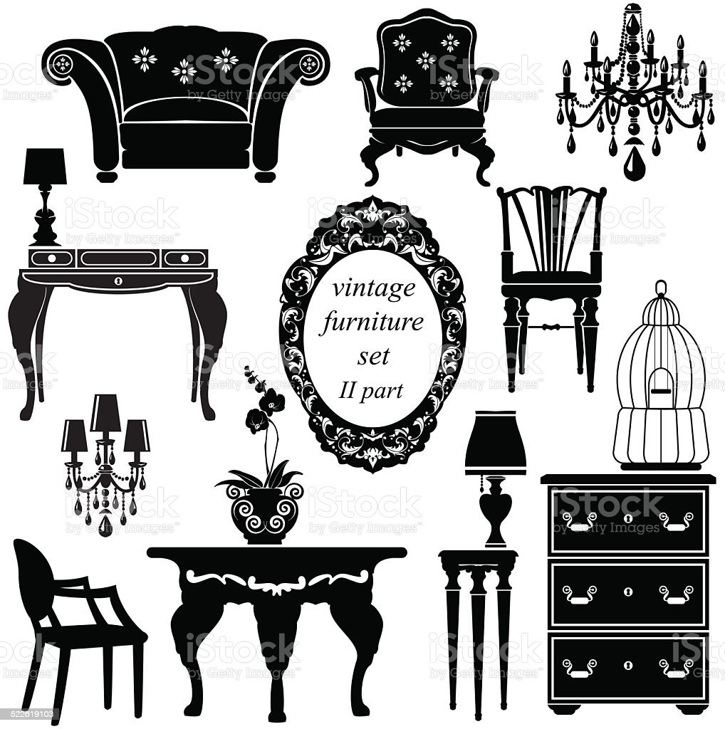 Set of antique furniture - isolated black silhouettes vector art illustration