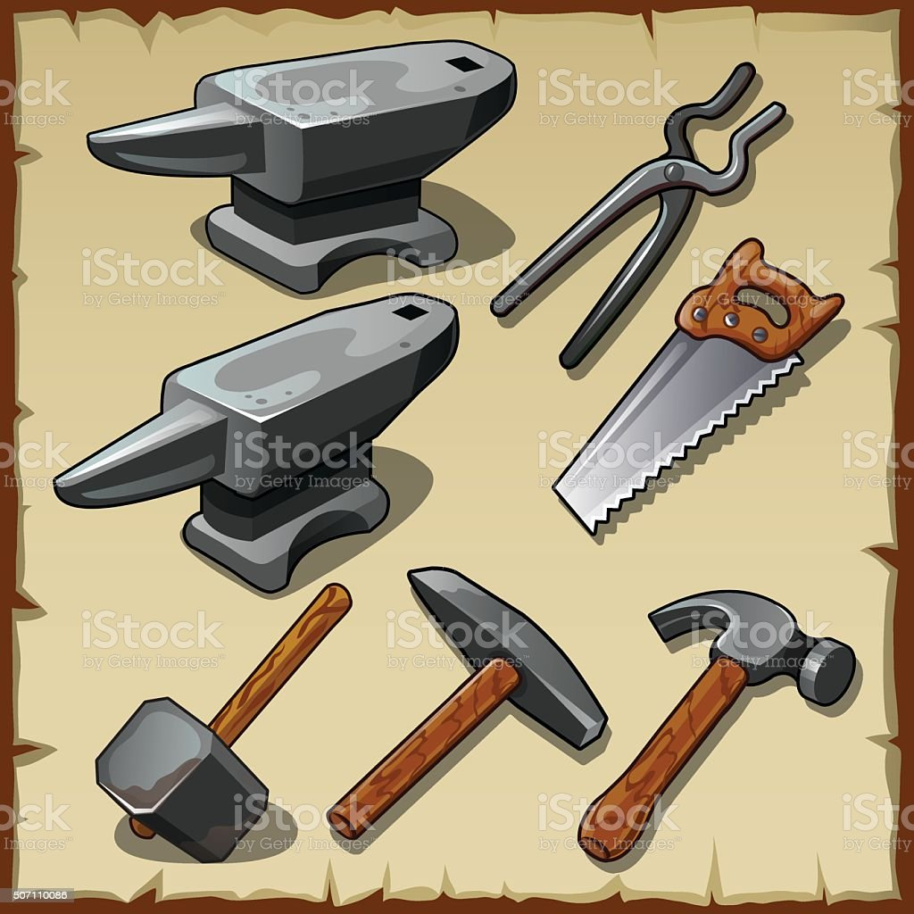 Set of anvils, saws, hammers and other tools vector art illustration