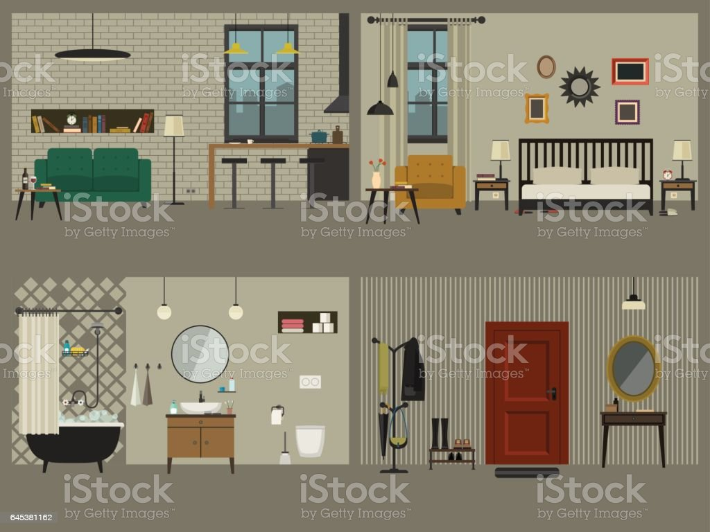 Set of apartment interiors with furniture icons. vector art illustration