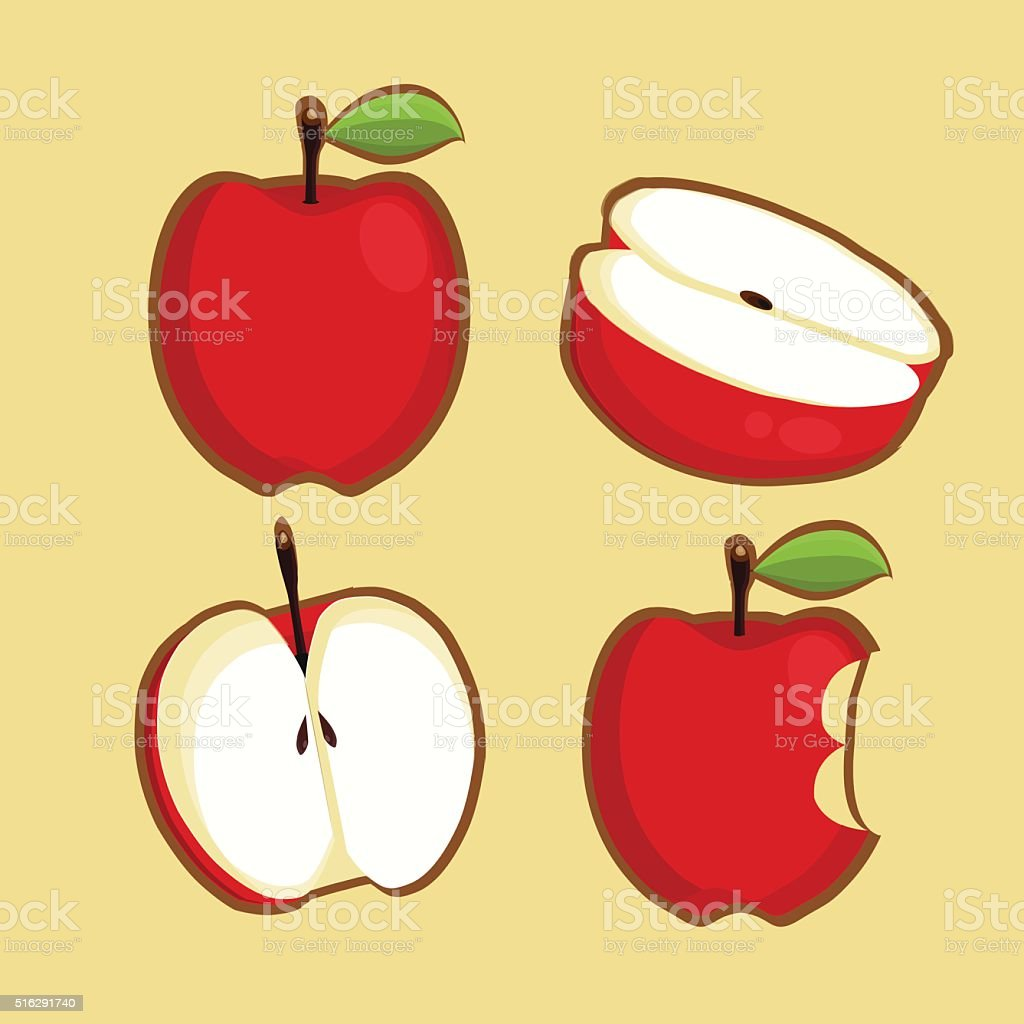 Set of Apple Vector. Bitten. Vector Icons. Background. Isolated vector art illustration