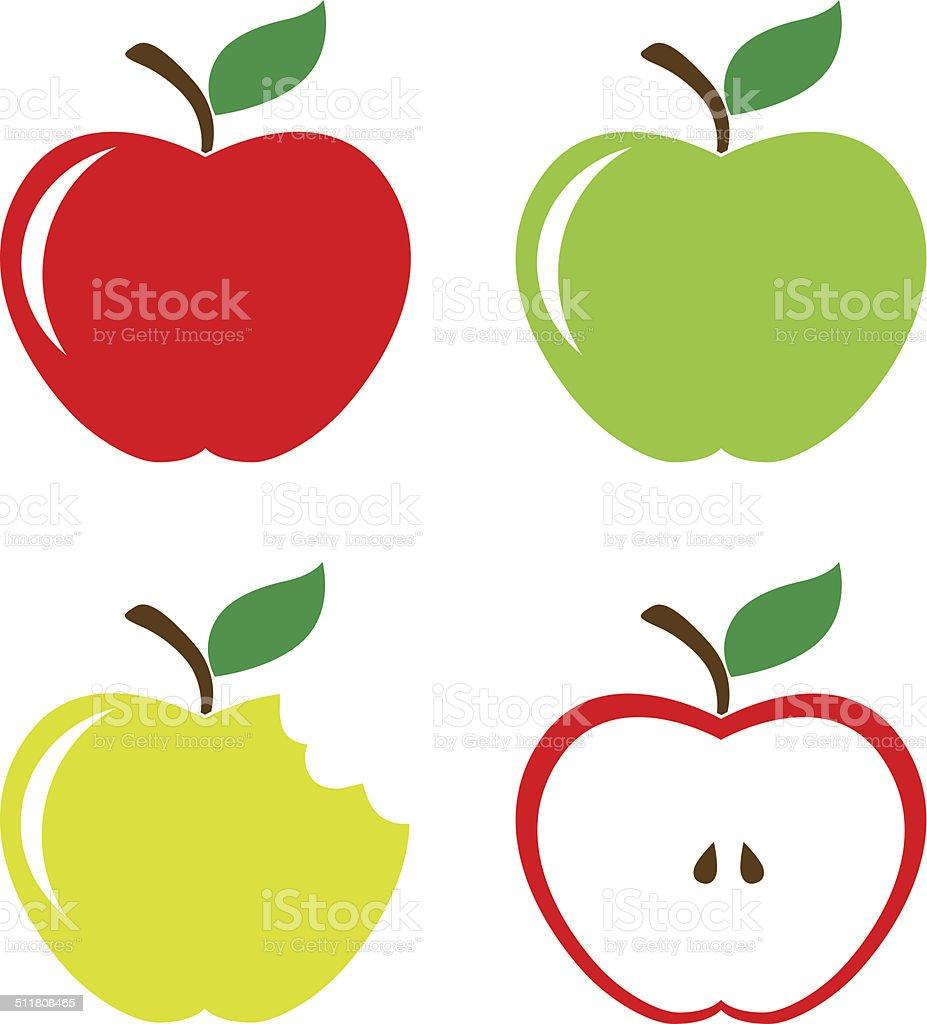 Set of apples vector art illustration
