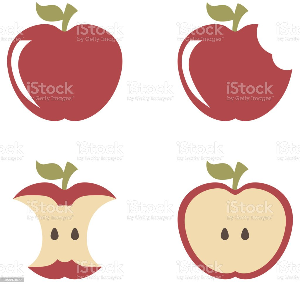 Set of apples with bites in them isolated on white vector art illustration
