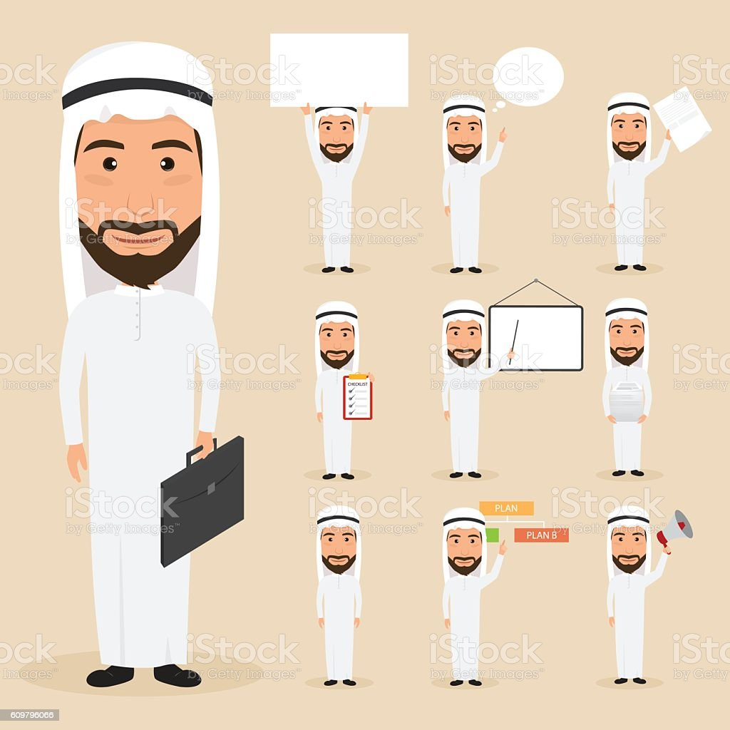 set of arab business man character at office work. people character.