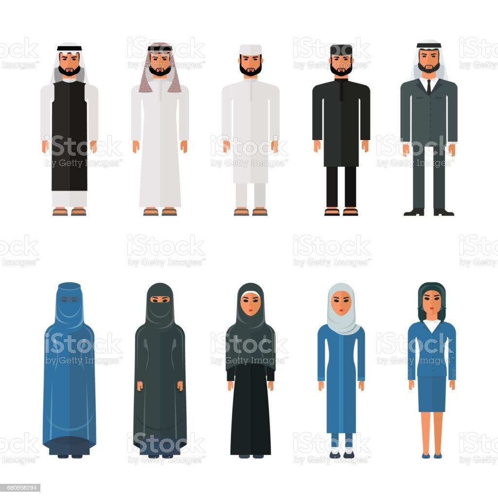 set of arabian man and woman vector art illustration