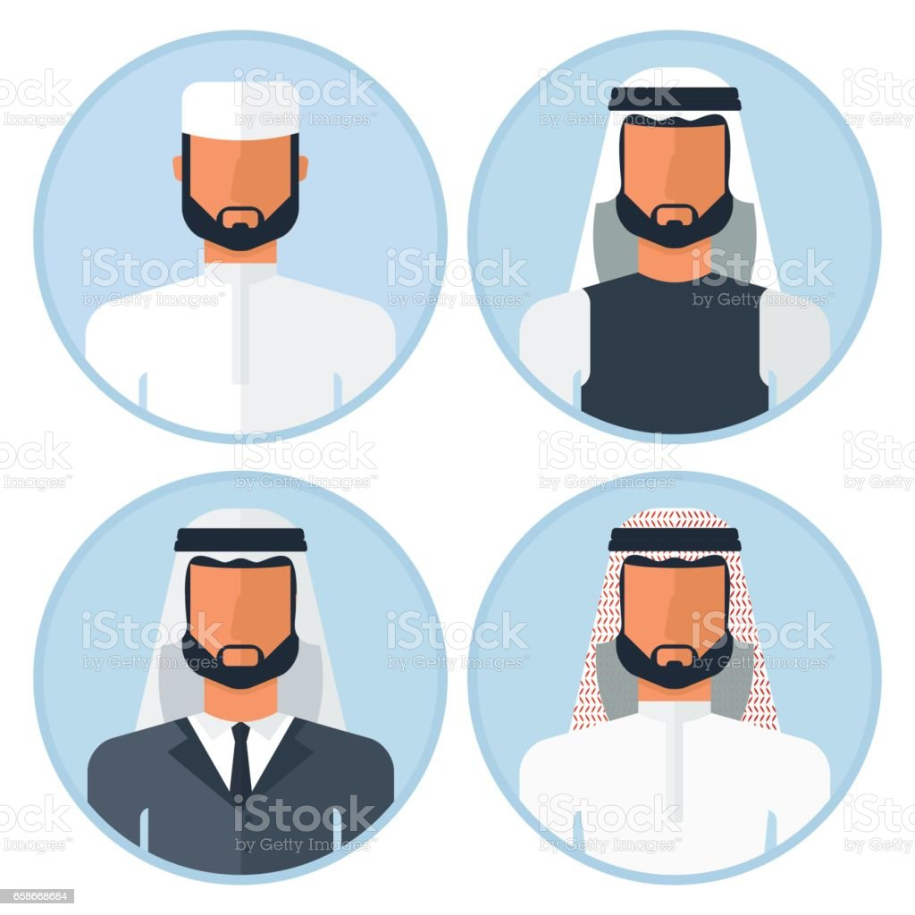 set of arabian man vector art illustration