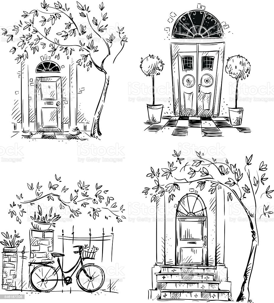 Set of architecture details drawings. Doors. vector art illustration