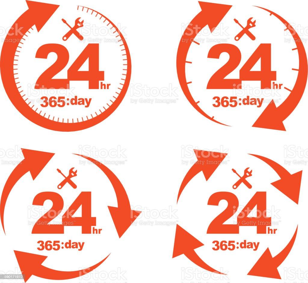 Set of Arrow Circle Service 24Hr 365 day Icon vector art illustration