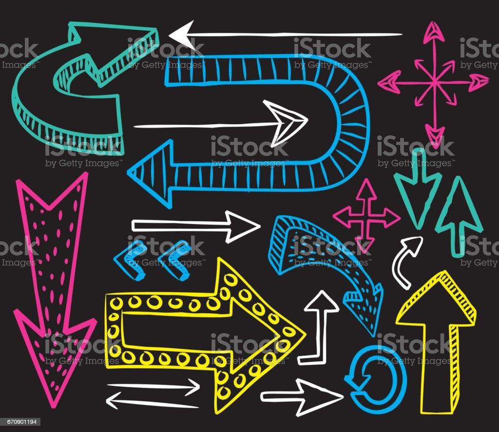 Set of arrow doodle vector art illustration