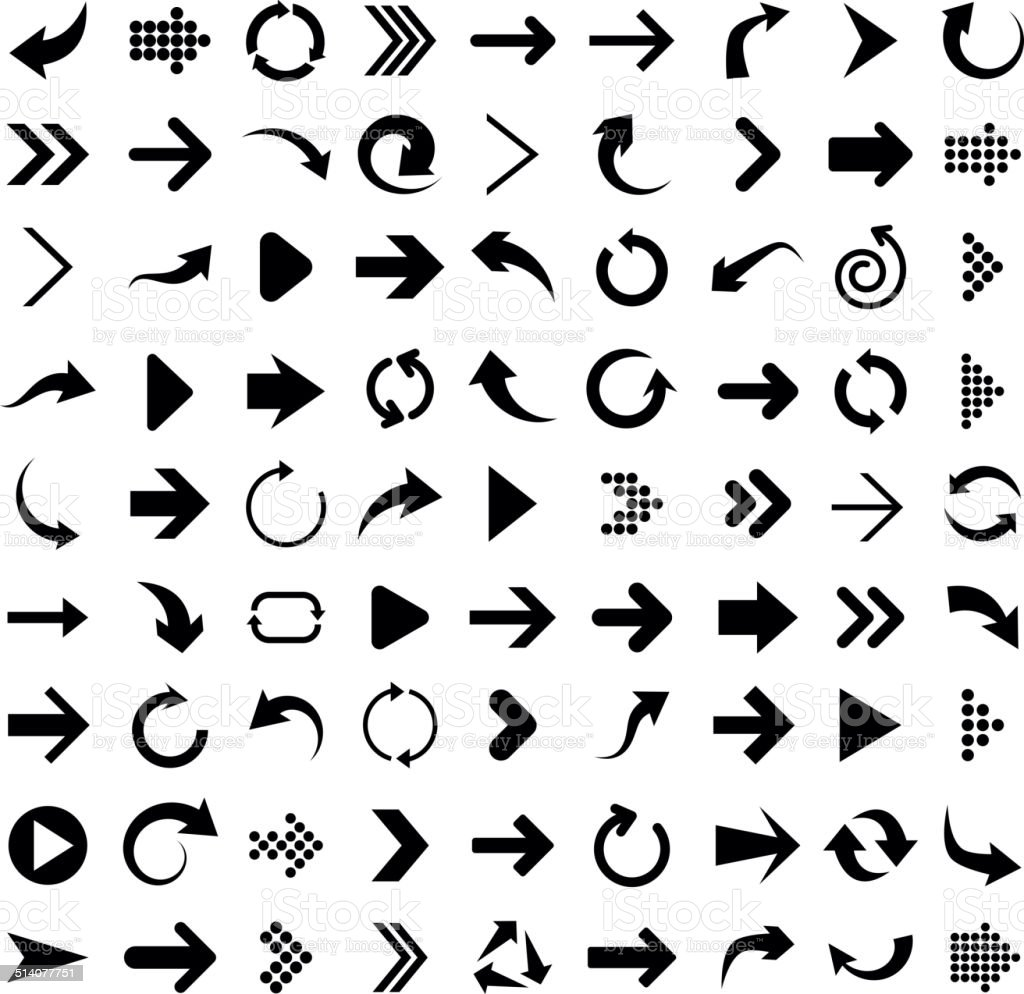 Set of arrow icons. vector art illustration