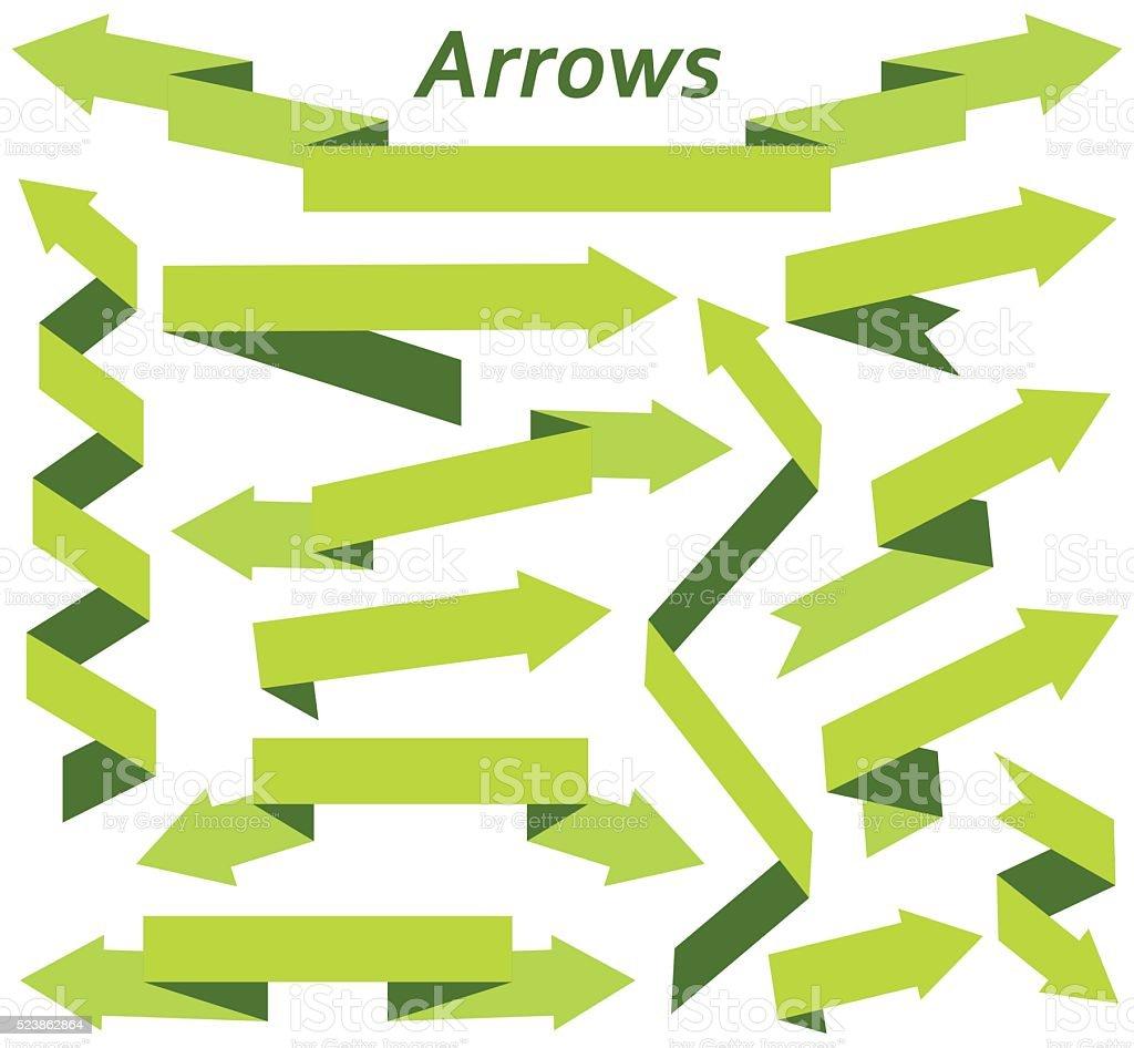 Set of arrows in modern flat style vector art illustration