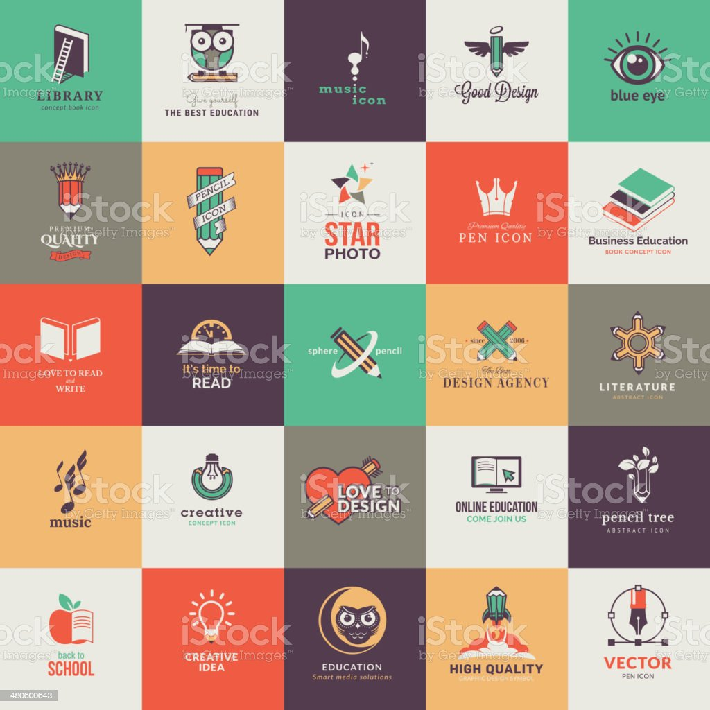 Set of art and education icons vector art illustration