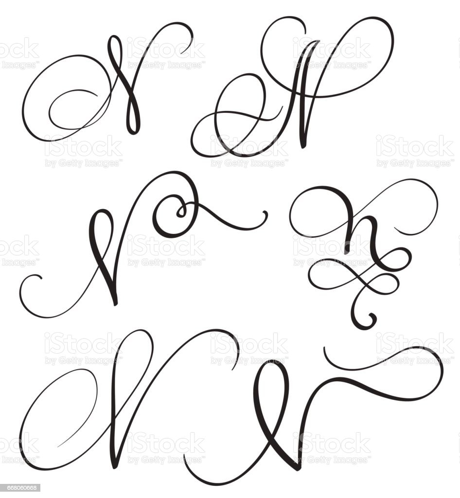 Set Of Art Calligraphy Letter N With Flourish Of Vintage