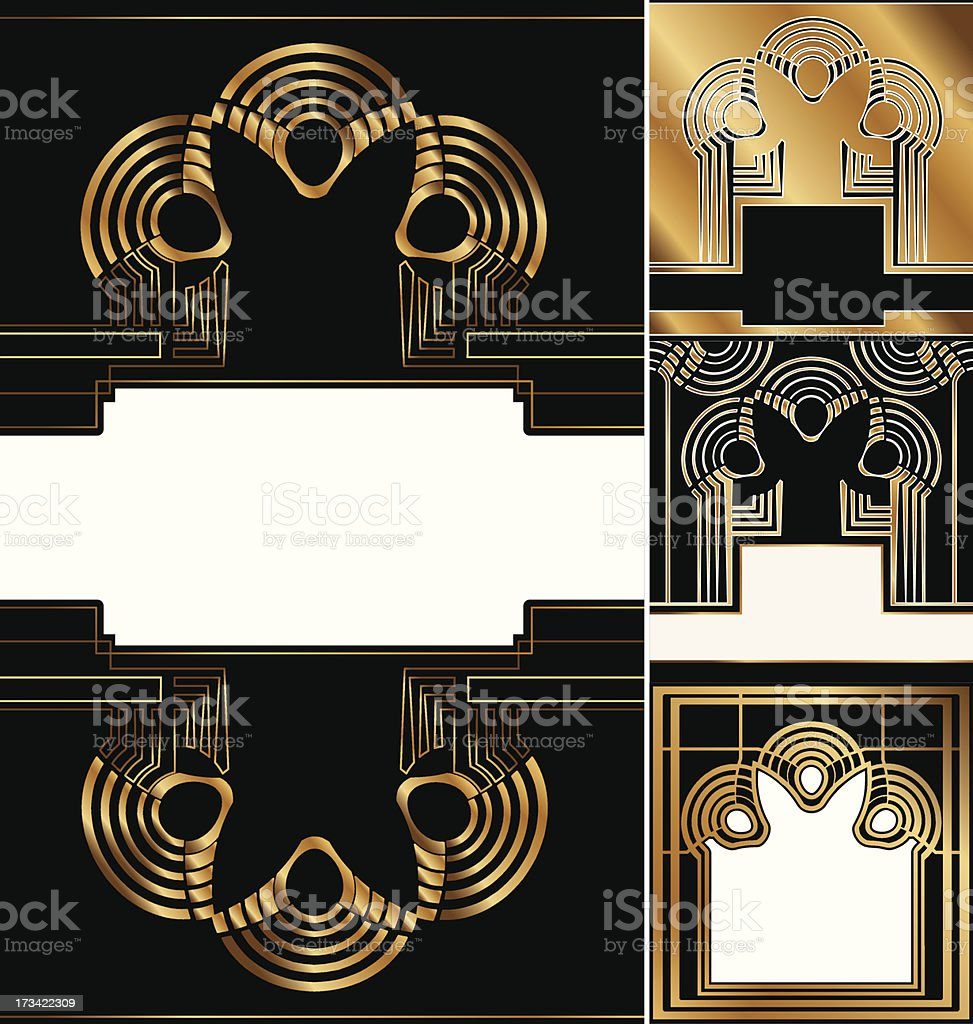 set of art deco background royalty-free stock vector art